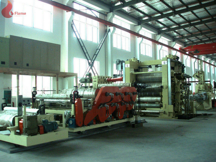 Oil Heating PVC Calender Machine 4 Roll Anti Abrasive For Making Rubberized Fabric